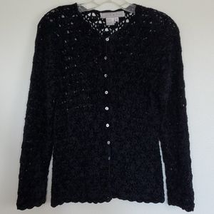 Lucia Burns Black Velour Knit Cardigan - S